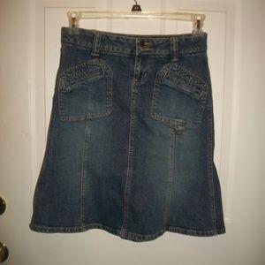 Vintage dark wash a-line jean skirt size 2